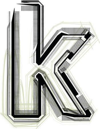 buchstabe k: technologische font Buchstaben K