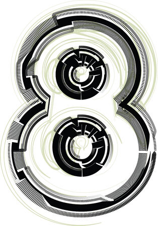 eighth: technological font  Number 8