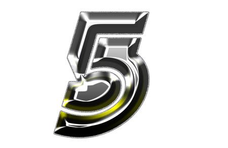 number 5: Siiver Font illustration  NUMBER 5 Stock Photo