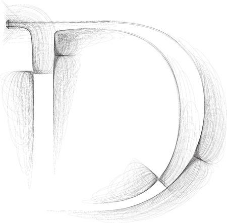 letter d: Hand draw font. LETTER D. Vector illustration