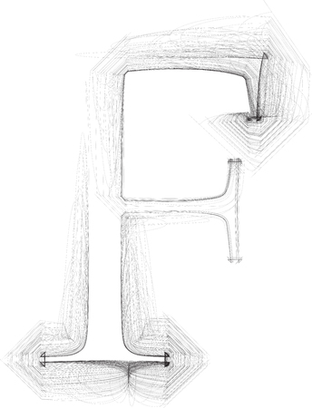 letter f: Hand draw font. LETTER F. Vector illustration