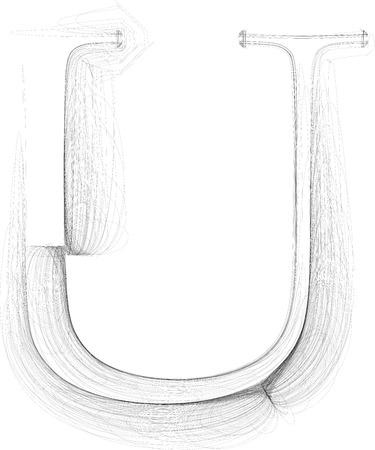 Hand draw font. LETTER U. Vector illustration Ilustração
