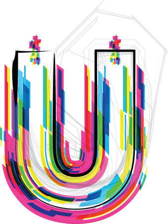letter u: Font Illustration. LETTER U. Vector illustration Illustration