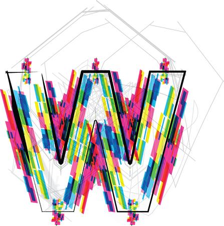 letter w: Font Illustration. LETTER W. Vector illustration