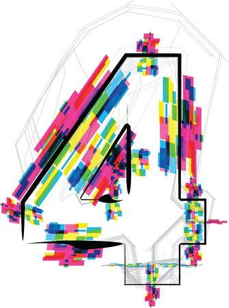 number 4: font Illustration. Number 4. Vector illustration Illustration