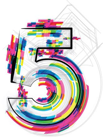 number 5: font Illustration. Number 5. Vector illustration