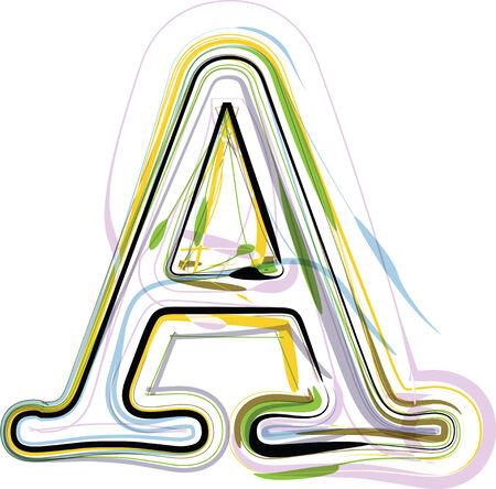 Organic Font illustration. Letter A Illustration