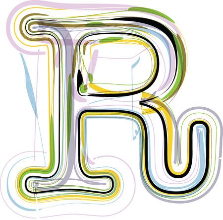 Organic Font illustration. Letter R Stock Illustratie