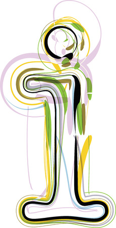 Organic Font illustration. Letter i Vector