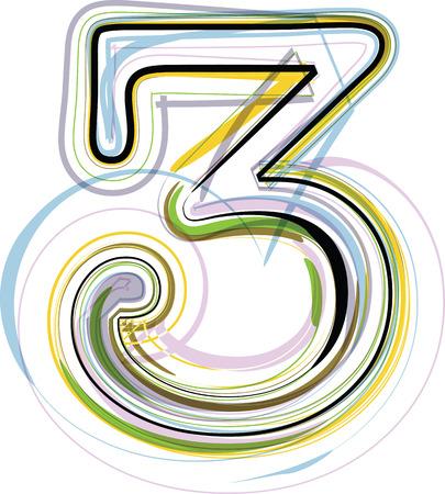 Organic Font illustration. Number 3 Vector