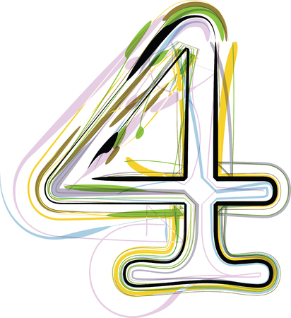 Organic Font illustration. Number 4 Vector