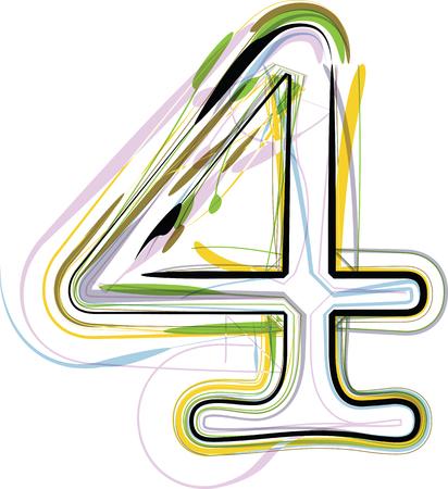 number 4: Organic Font illustration. Number 4