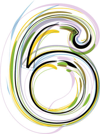 Organic Font illustration. Number 6 Vector