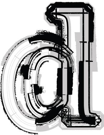 letter d: Grunge Font. Letter d Illustration