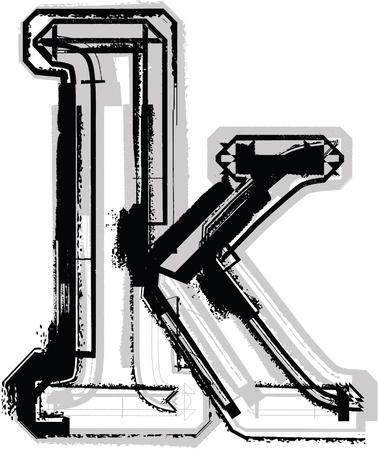 buchstabe k: Grunge Font. Buchstabe k