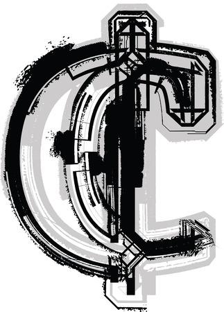cent: Grunge Font Illustration