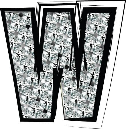Diamond Font letter W Vector