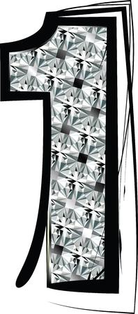 Diamond Font Number 1 Vector