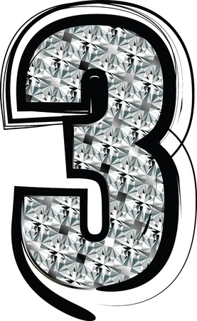 Diamond Font Number 3 Vector