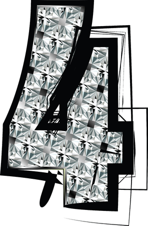 Diamond Font Number 4 Vector