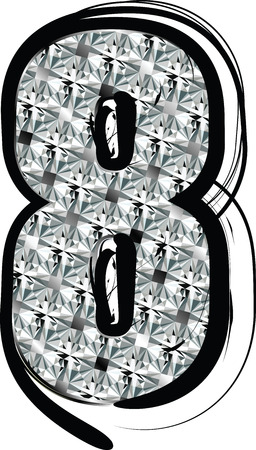 Diamond Font Number 8 Vector