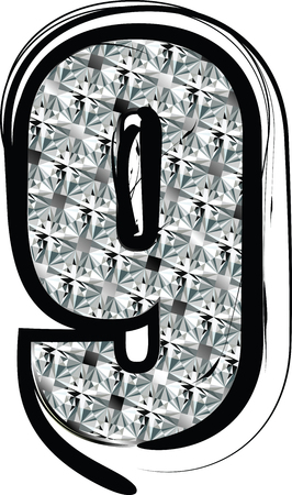 Diamond Font Number 9 Vector