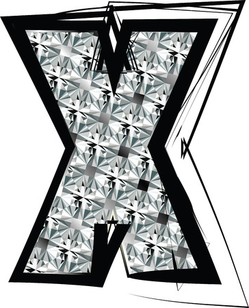 Diamond Font letter x Vector