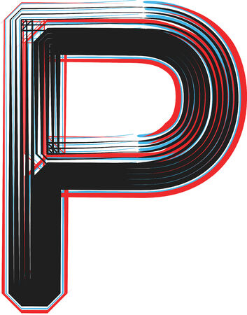 Font illustration letter P Vector