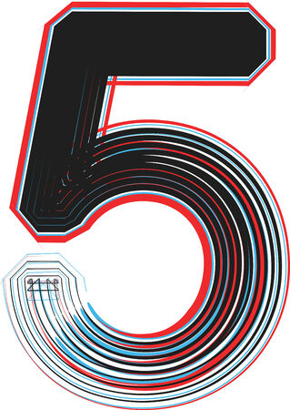 Font illustration NUMBER 5 Vector