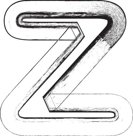 buchstabe z: Grunge Font. Buchstabe Z