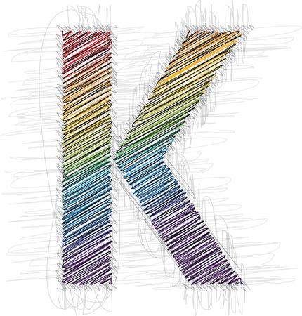 buchstabe k: Hand zeichnen Schriftart Buchstaben K