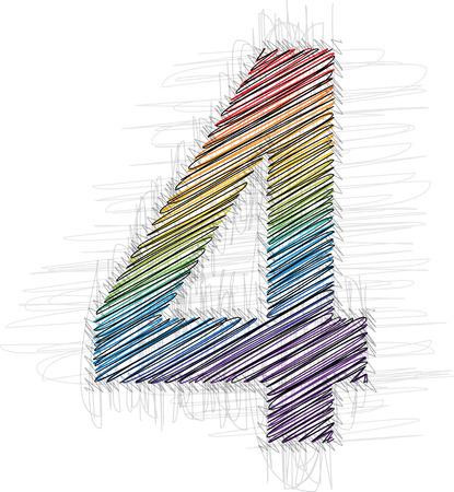number 4: Hand drawn font NUMBER 4