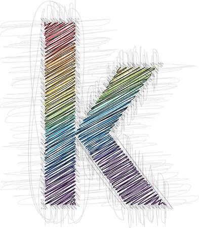 buchstabe k: Hand gezeichnete Schrift Buchstabe K
