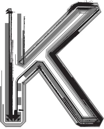 buchstabe k: Grunge Schriftart. Buchstabe K Illustration