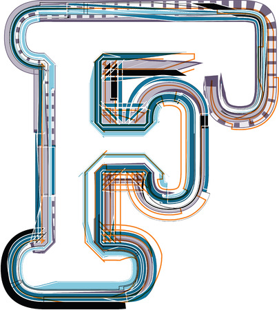 letter f: Font illustration LETTER F Illustration