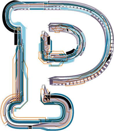 Font illustration LETTER P Stock Vector - 26504491