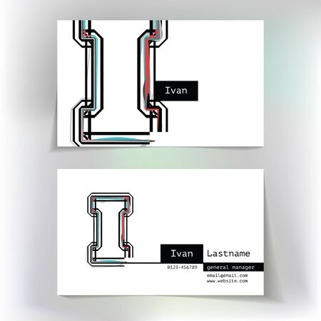 Business card design with letter I
