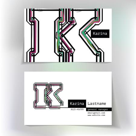 buchstabe k: Visitenkarten-Design mit Buchstaben K