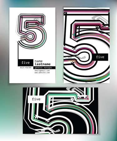 Business card design with number 5 Vector