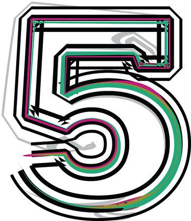 number 5: font illustration NUMBER 5