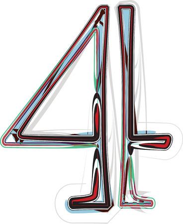 number 4: font illustration NUMBER 4 Illustration