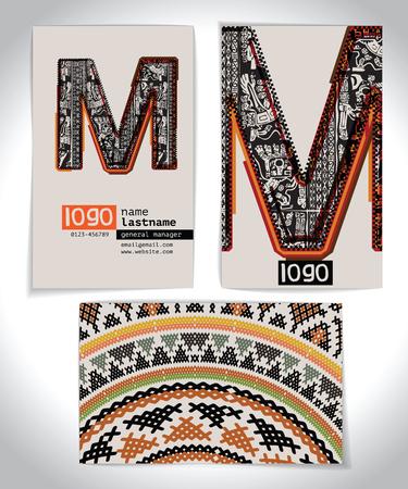 letra m: Tarjeta de visita antigua Dise�o Letra M Vectores