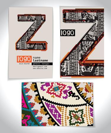 buchstabe z: Antike Visitenkarte Design LETTER Z