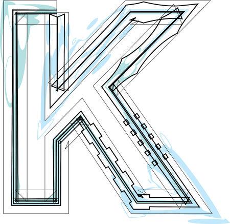 Font illustration letter K Vector