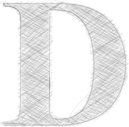 letter d: Freehand Typography Letter D Illustration