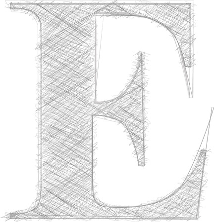 the letter e: Freehand Typography Letter E