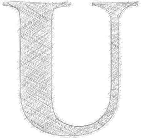 letter u: Freehand Typography Letter U Illustration