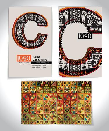 Ancient Business card design LETTER c Vector