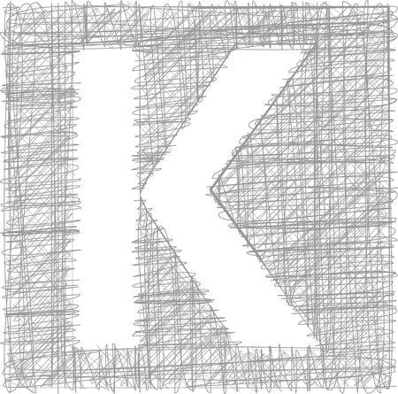 buchstabe k: Freehand Typografie Buchstabe K Illustration