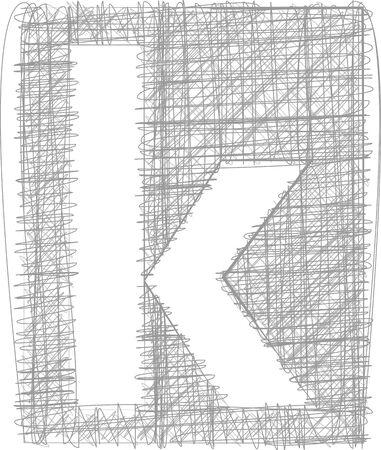 buchstabe k: Freehand Typografie Buchstabe k